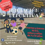 23.07.2021 Inscripciones al curso de Iniciación Deportiva en el Centro de Barrio Estadio